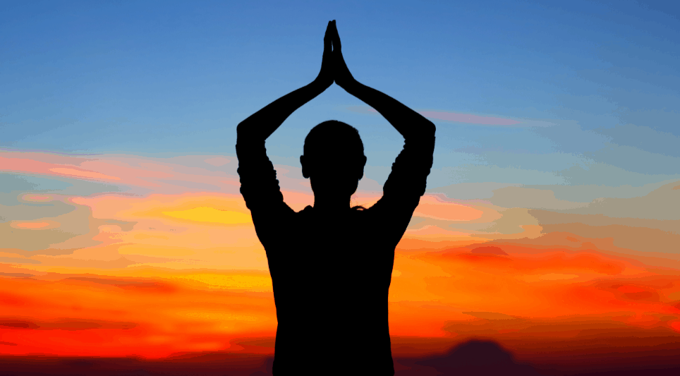 yoga at sunset for mental health